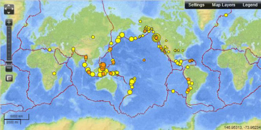 map linking information about real-time earthquakes, online catalog search of archives, seismicity maps and statistics